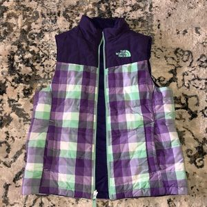 Used teal purple and white girls north face vest